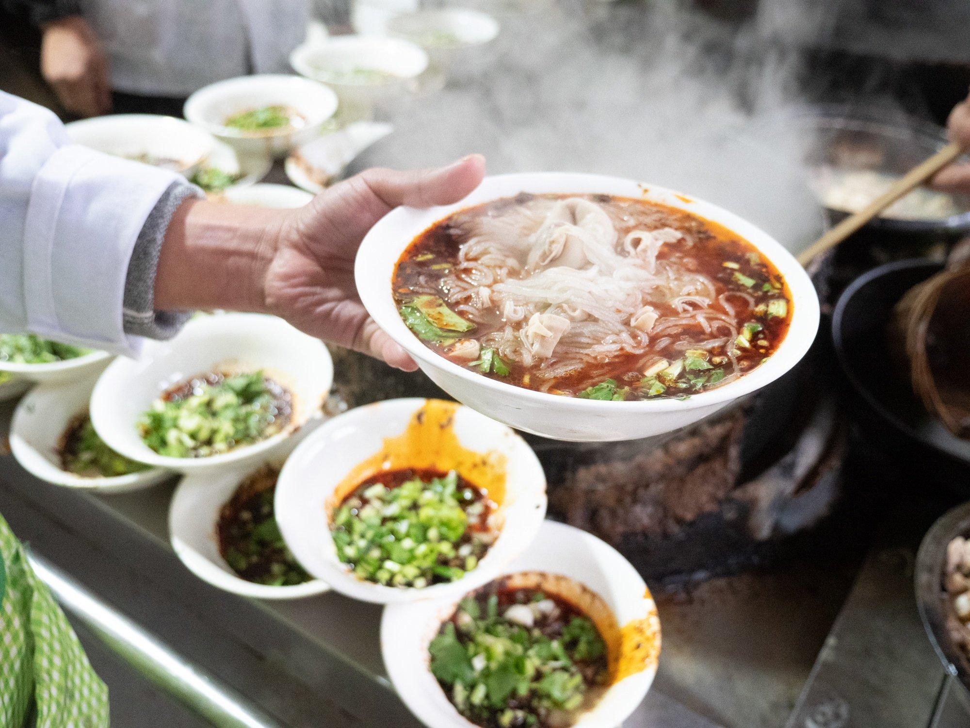 feichangfen sweet potato starch intestine noodles in chengdu