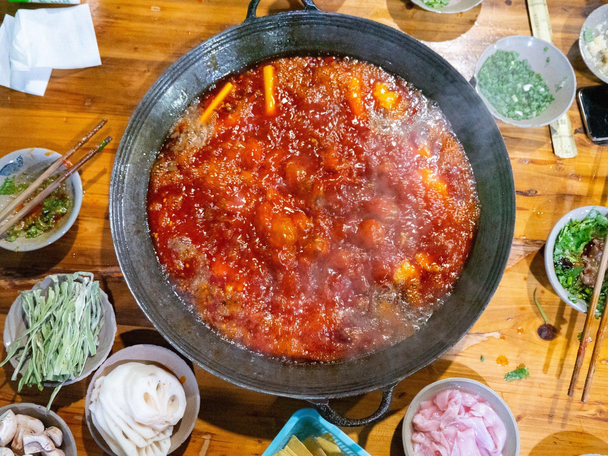 Super spicy hot pot in Chengdu China