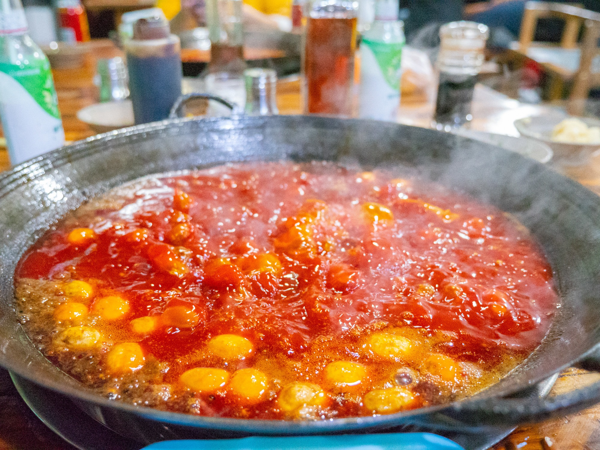 This is a Chongqing style hot pot that you can enjoy in chengdu