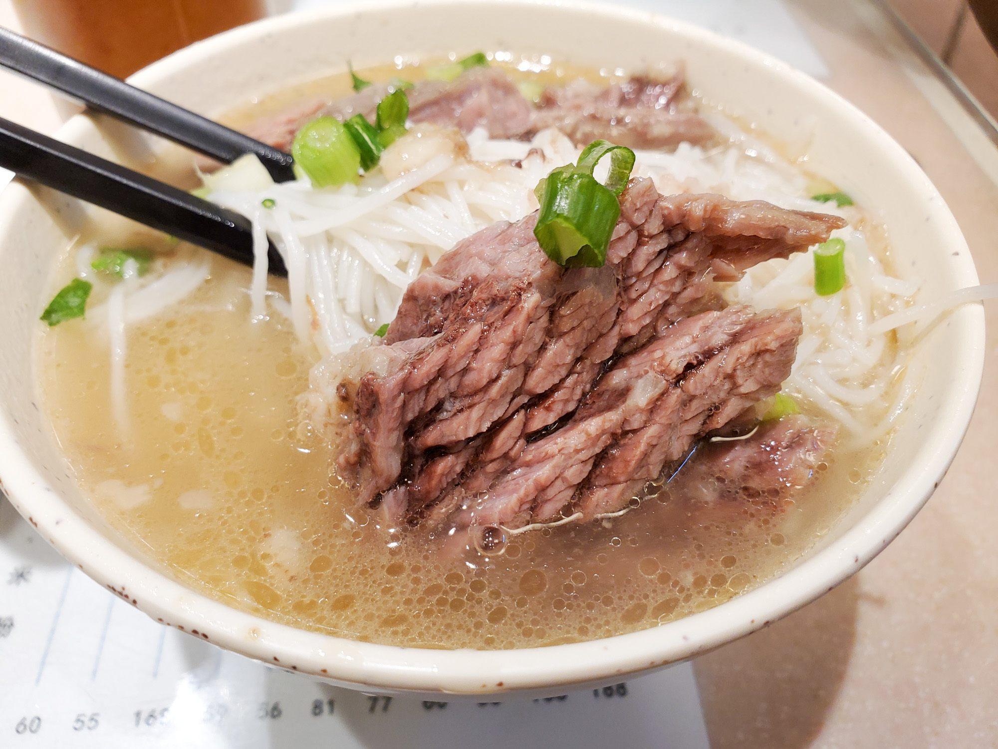 Hong kong style noodles at kau kee food cafe in hong kong