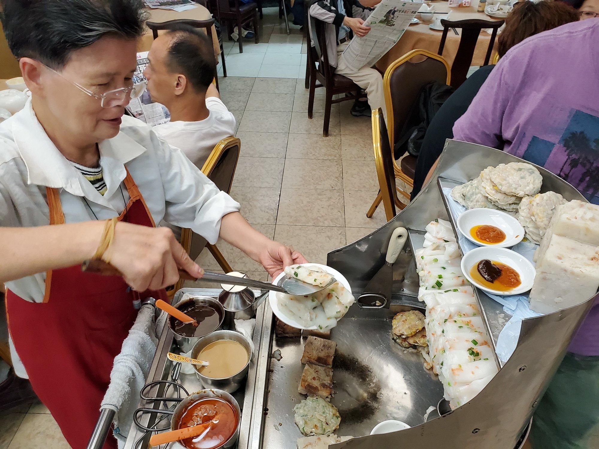 a cheong fun push cart at central restaurant in hong kong
