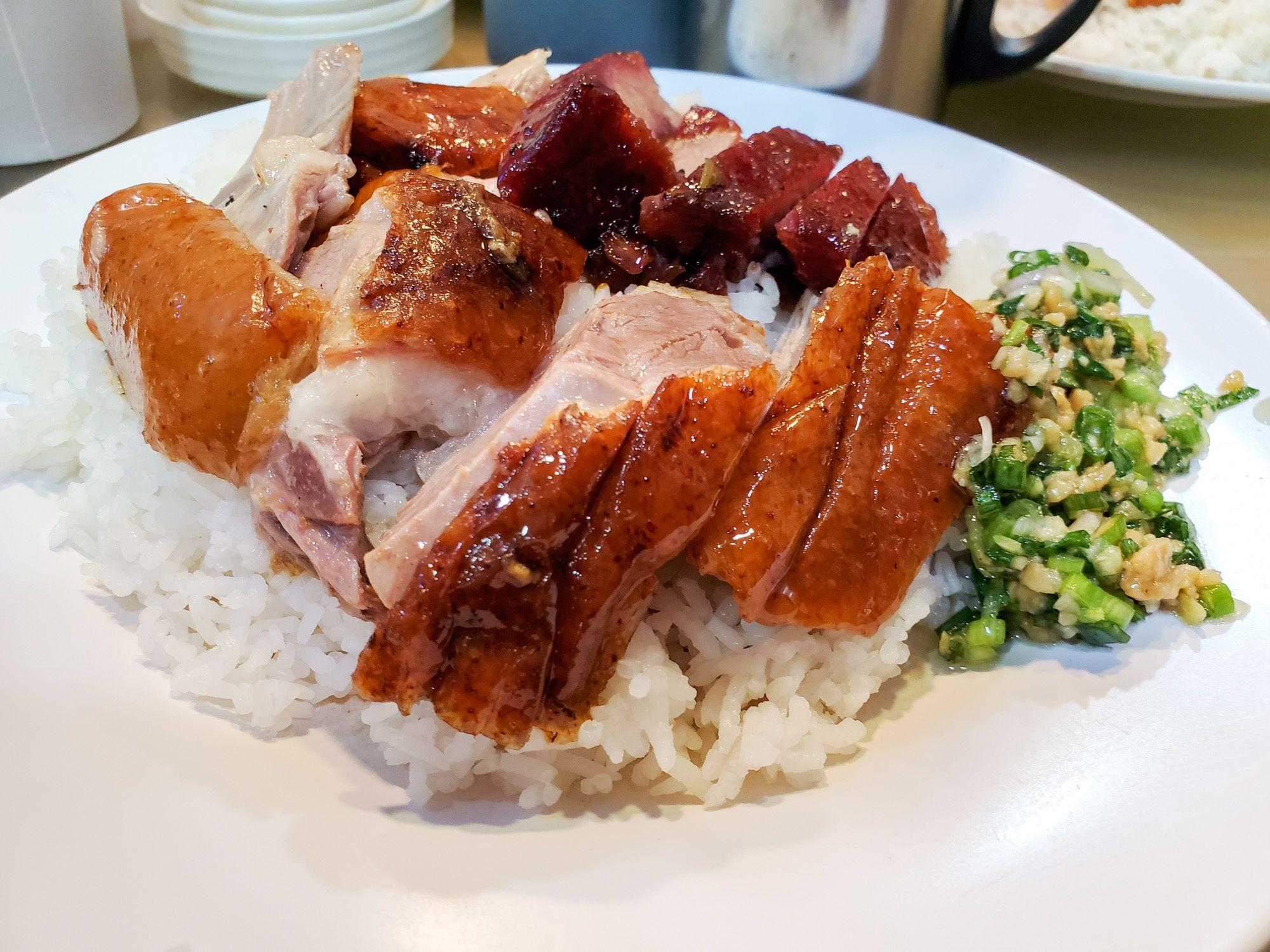 Joy hing chicken and bbq pork