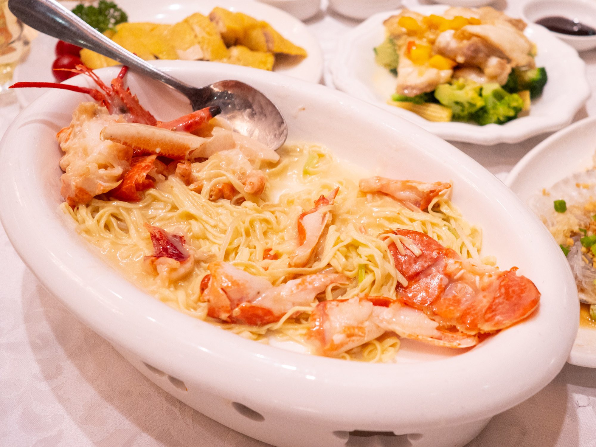 The lobster noodles at tai woo seafood restaurant are extremely creamy and garlicky and delicious!