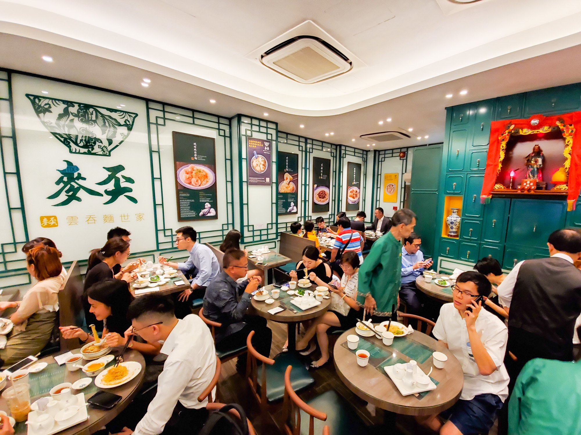 the interior of maks noodle, a 1 michelin star wonton noodle restaurant in hong kong