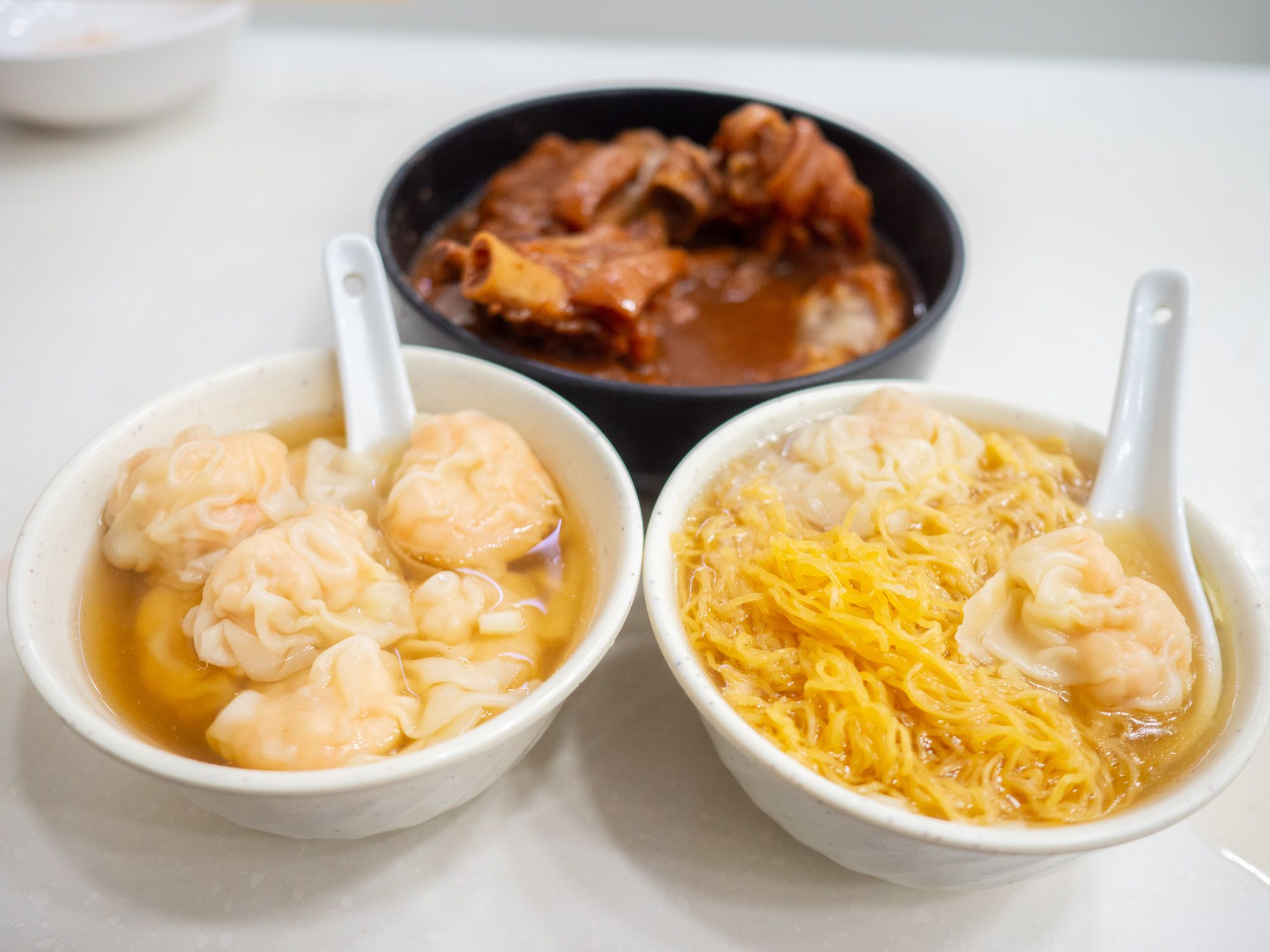 wonton noodles, pig foot, and a big bowl of shrimp wontons at mak an kee