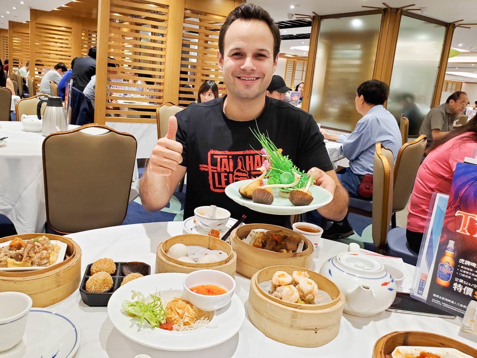 a large dim sum feast in hong kong